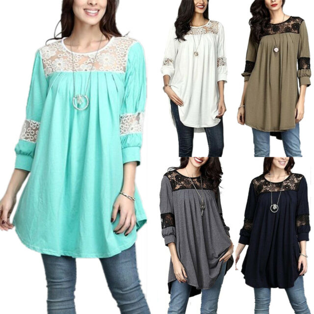 Womens Lace Long Sleeve T-Shirt Boho Loose Longline Tunic Top Blouse Plus Size