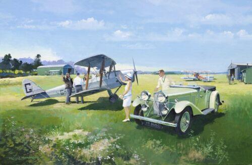 Talbot 105 De Havilland Tiger Moth Car Plane Aircraft Birthday Fathers Day Card
