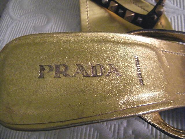 PRADA md in ITALY SZ 41 TOE THONG SANDALS 3.5 3.5 3.5  HEEL gold METALLIC & BLACK SUEDE cbb4b8
