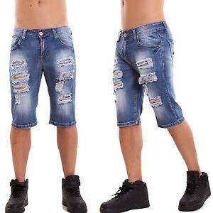 Rs Nuevo Rasgados Detalles Vaqueros Capri Hombre Cortos Shorts Casual De Pantalones H132 RjL354Aq
