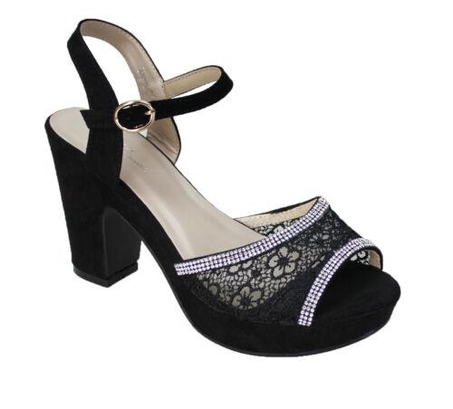 Diamant Plateau Éscarpins Noir Élégant Femmes Sandales Dentelle Chaussures TnXaE1x