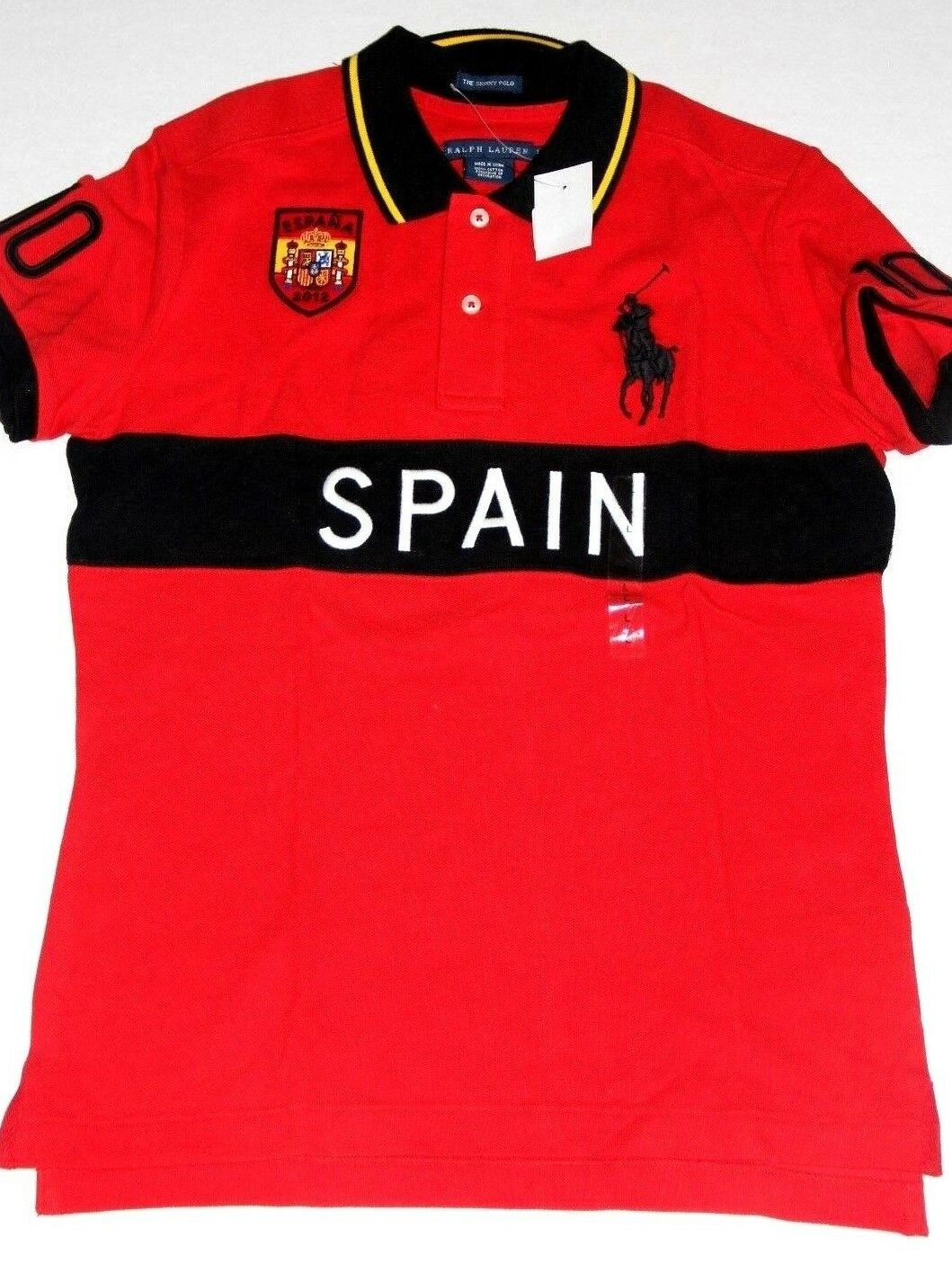 Polo Ralph Lauren damen rot Shirt  Big Pony Spain Flag  Large
