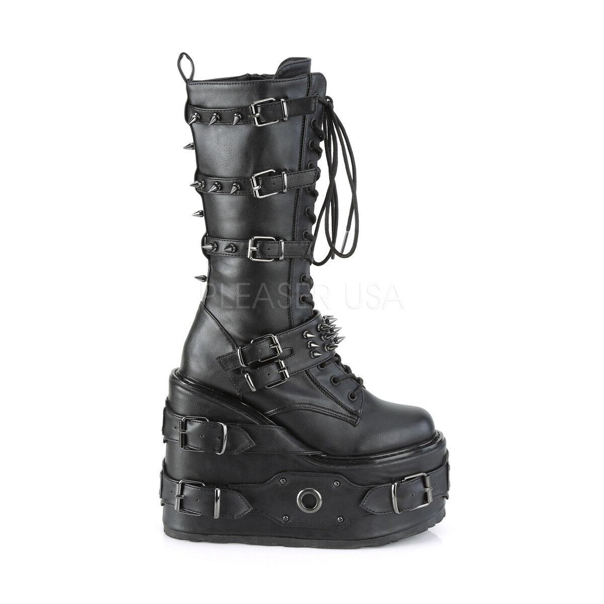 Swing 327 Negro Rodilla Bota 5.5  Pernos de plataforma y picos de tensión arranque Goth