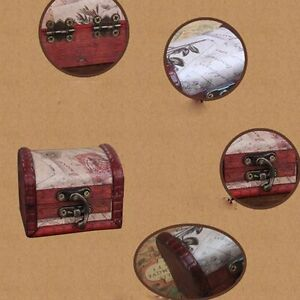 Image Is Loading Wooden Stamp Small Metal Lock Jewelry Treasure Chest