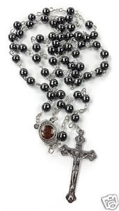 Hematite-Rosary-Black-Stone-Beads-Necklace-Jerusalem-Holy-Soil-Cross-Crucifix