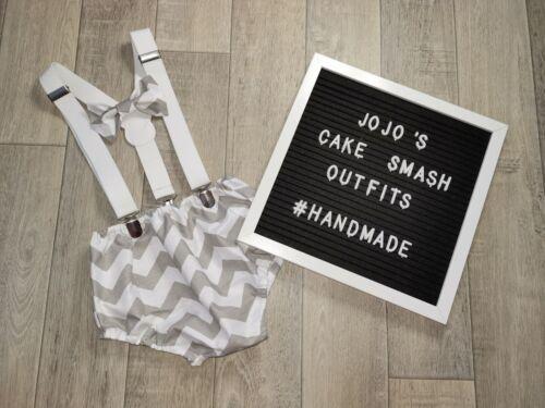 Grey//white  Zig Zag Handmade. Baby Boys 1st Birthday Cake Smash Outfit// Prop