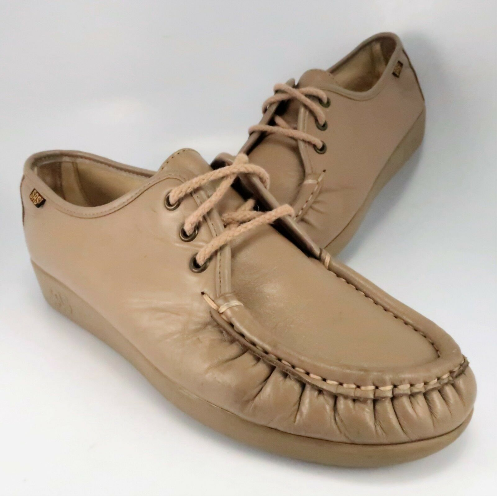 SAS Siesta shoes Womens Size 8.5M Tan Leather Lace-Up Oxfords Hand Sewn in USA