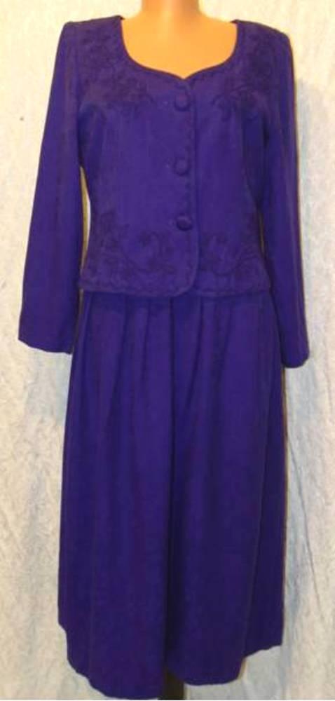 Vintage ROYAL PURPLE Brocade KAREN STEVENS PETITES Faux 2-Piece Dress  8