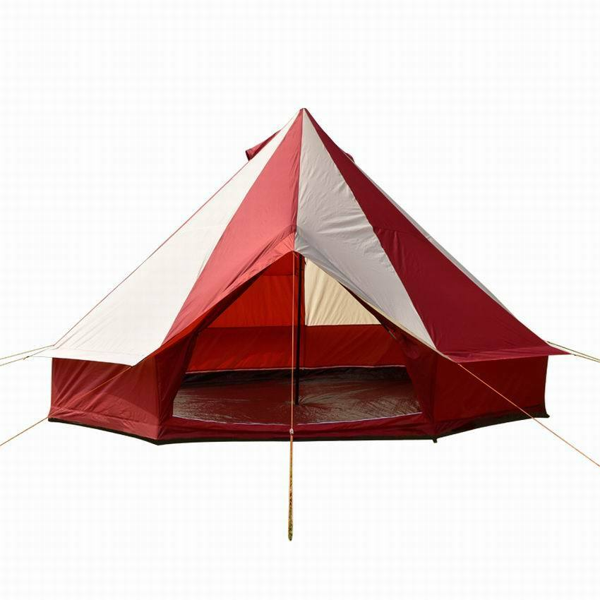 5m Camping Bell Tent ZIG 400-Ultimate Burgundy Stripes water proof & Carry case