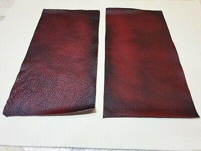 """Red Rosso 9"""" × 4.5"""" Antico Rub Off 100% In Pelle Ritagli 1mm X2 Craft Toppa-mostra Il Titolo Originale"""