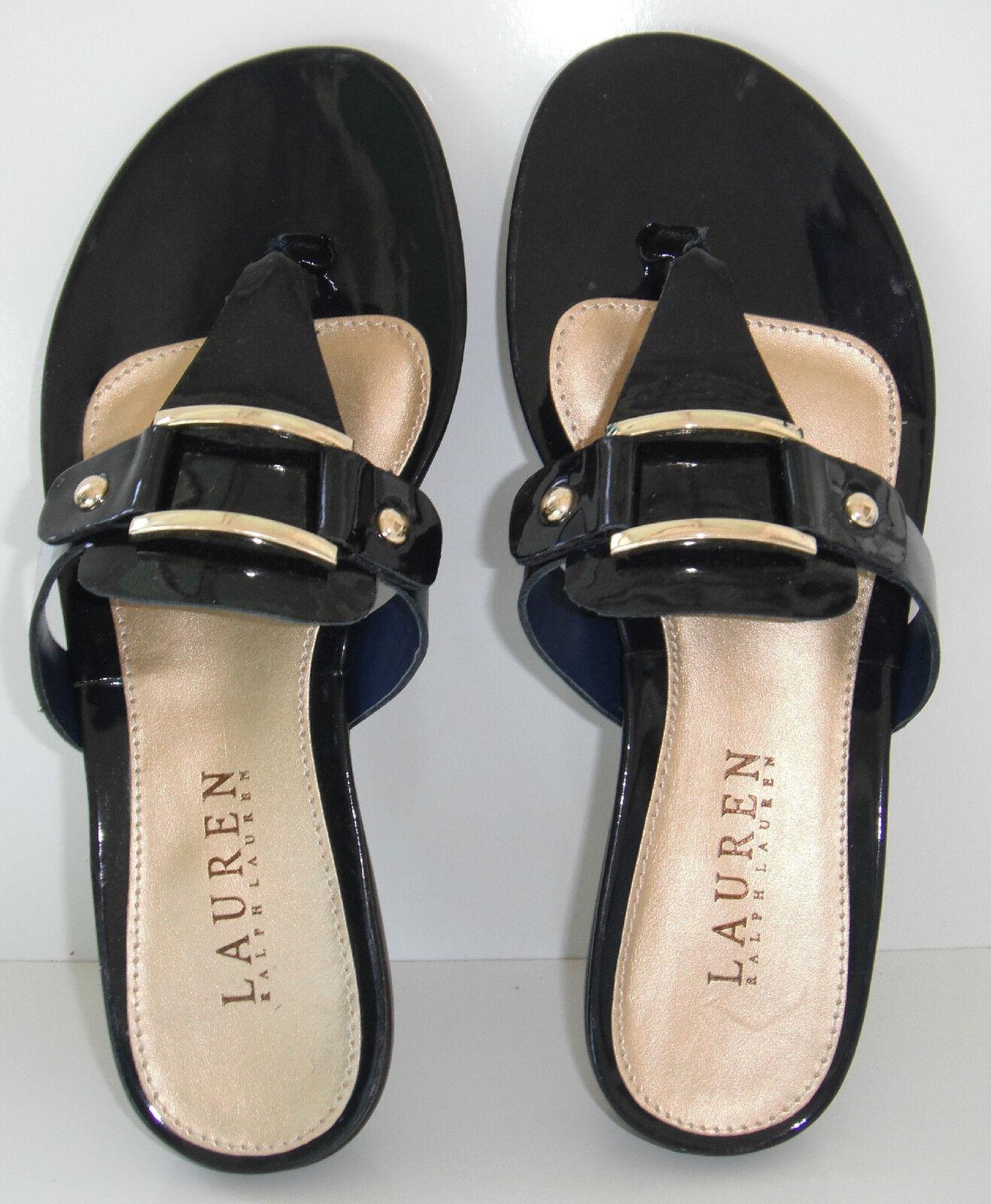 NIB Lauren Ralph Lauren Thong Patent Soft Leder Sandale sz 5.5