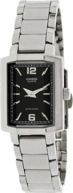 Casio LTP-1233D-1A Ladies Black Watch Stainless Steel Band Quartz Dress New