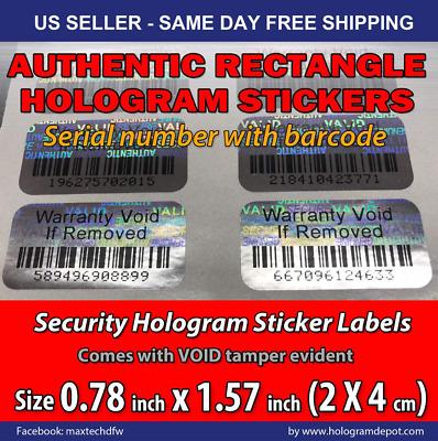 500 Security BARCODE Hologram Tamper Evident Label Stickers Seals full release