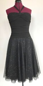 B-Darlin-Prom-Party-Club-Dress-Sparkly-Black-Layered-Juniors-S-3-4-Halter