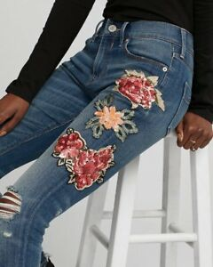 1bc304fa7d767e Image is loading NEW-EXPRESS-MID-RISE-SEQUIN-EMBROIDERED-STRETCH-JEANS-