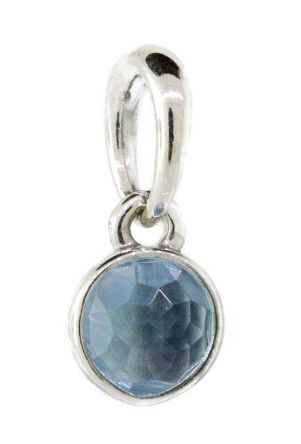 0d3c7a65804cd Authentic PANDORA March Droplet Pendant Aqua Blue Crystal 390396NAB
