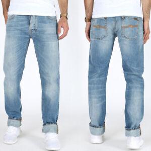 Nudie-Herren-Regular-Straight-Fit-Jeans-Hose-Hank-Rey-Mid-Worn-Indigo