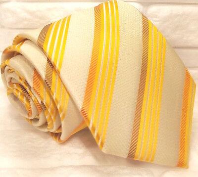 Cravatta Uomo Beige Righe Gialle 100% Seta Made In Italy Business Regimental