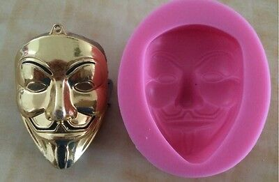 V for Vendetta Mask Cake Silicone Mould Mold Jelly Chocolate Baking Tools