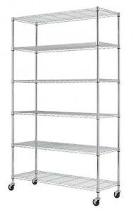 "'Commercial 82""x48""x18"" 6 Tier Layer Shelf Adjustable Wire Metal Shelving Rack 76' from the web at 'https://i.ebayimg.com/images/g/T2sAAOSwOyJX7p~3/s-l300.jpg'"