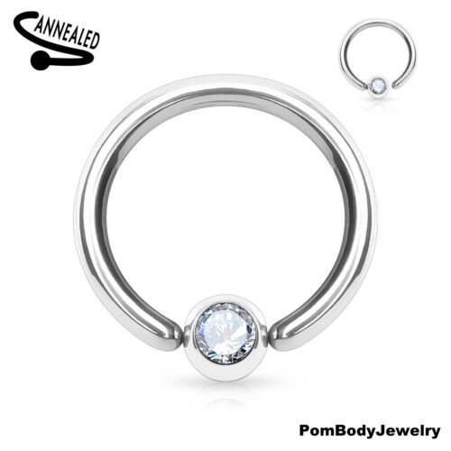 Pair 18G 16G 14G Surgical Steel Captive Bead Ring Fixed Gem Ball Nose Hoop Ring