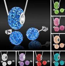 15 set/lot 10mm mixed new chain crystal shamballa set earring necklace pendant