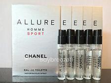 Lot of 5 Chanel Allure Homme Sport Eau de Toilette EDT 1.5ml/0.05oz each