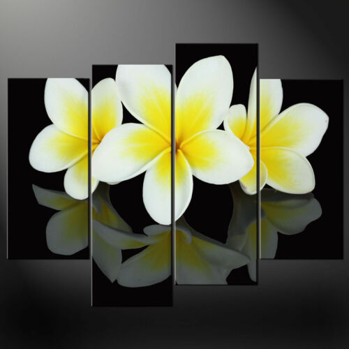 FRANGIPANI FLOWERS CASCADE CANVAS PRINT MODERN DESIGN READY TO HANG