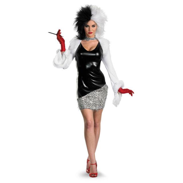 Adult Ladies Evil Madame Dalmatians Cruella Villian Fancy Dress Book Costume 101
