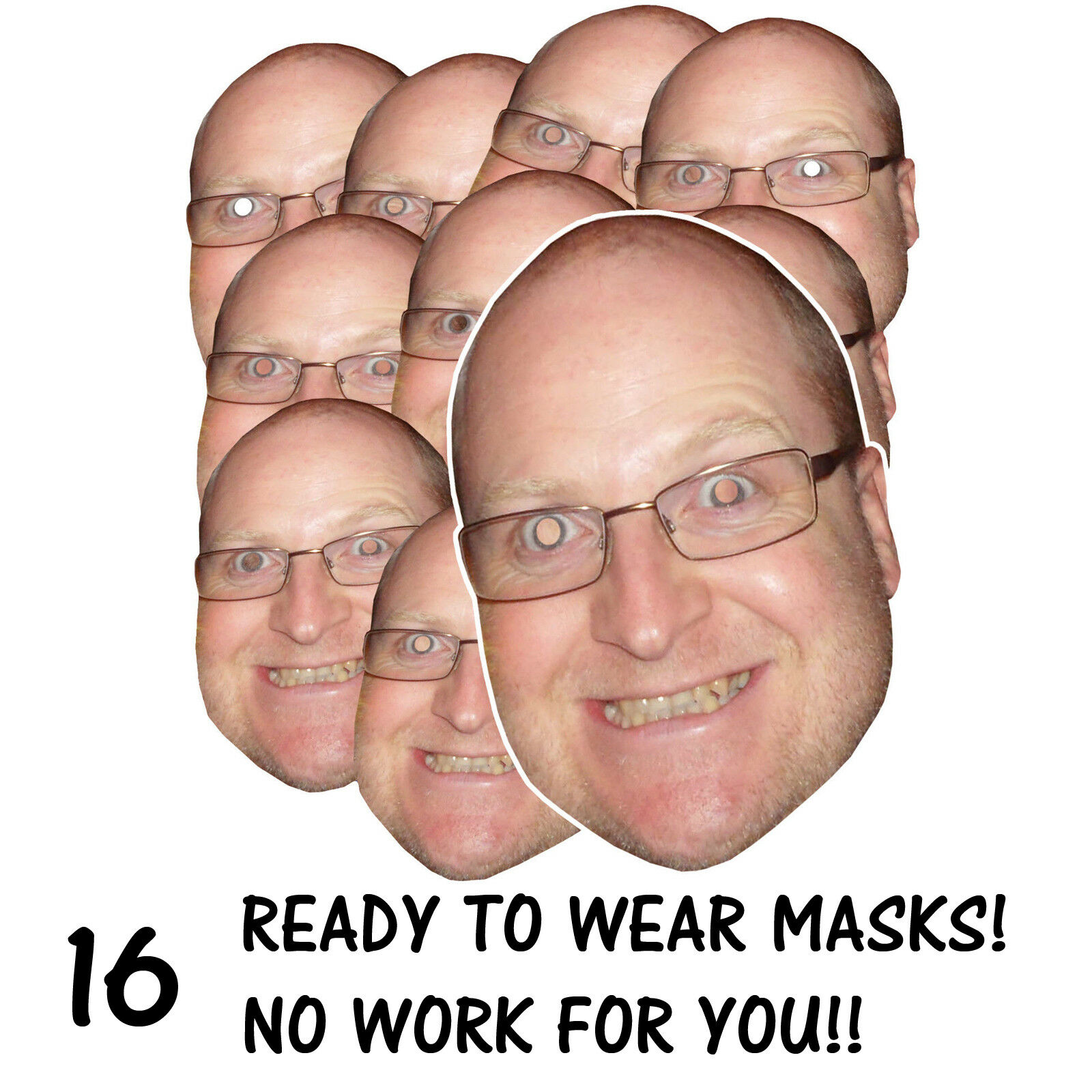 16 x PERSONALISED FUN FACE MASKS - STAG HEN PARTY - SEND US YOUR PIC - FREE P&P