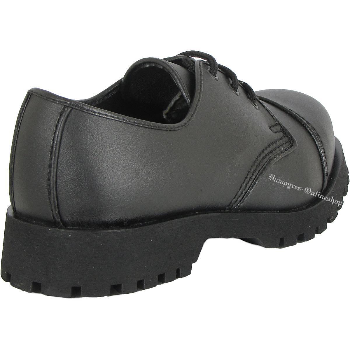 Boots And Braces 3-Loch Vegetarian Schwarz Vegane Rangers Schuhe Halbschuhe Noir