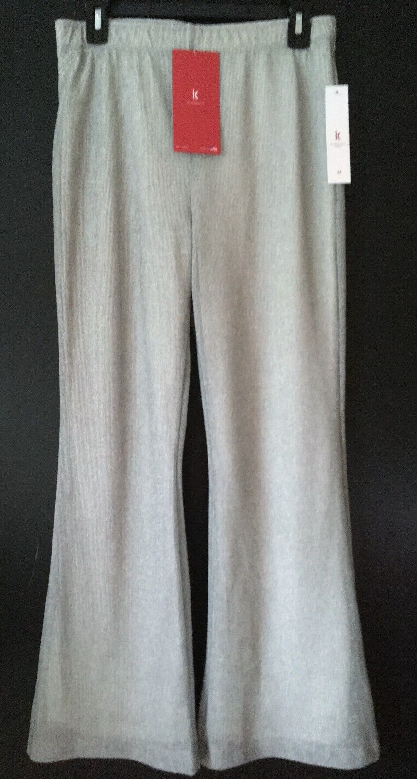 Nwt IC Collection by Connie K Grey Lined Gauzy Pull On Flare Ankle Pants M L XL