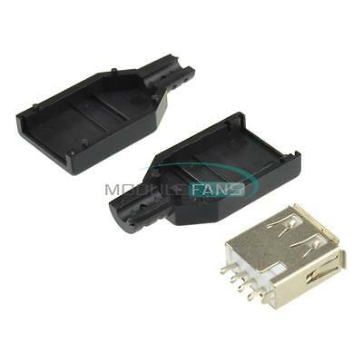 50pcs USB2.0 Type-A Plug 4-pin Male Adapter Connector Jack With Black Plastic Co