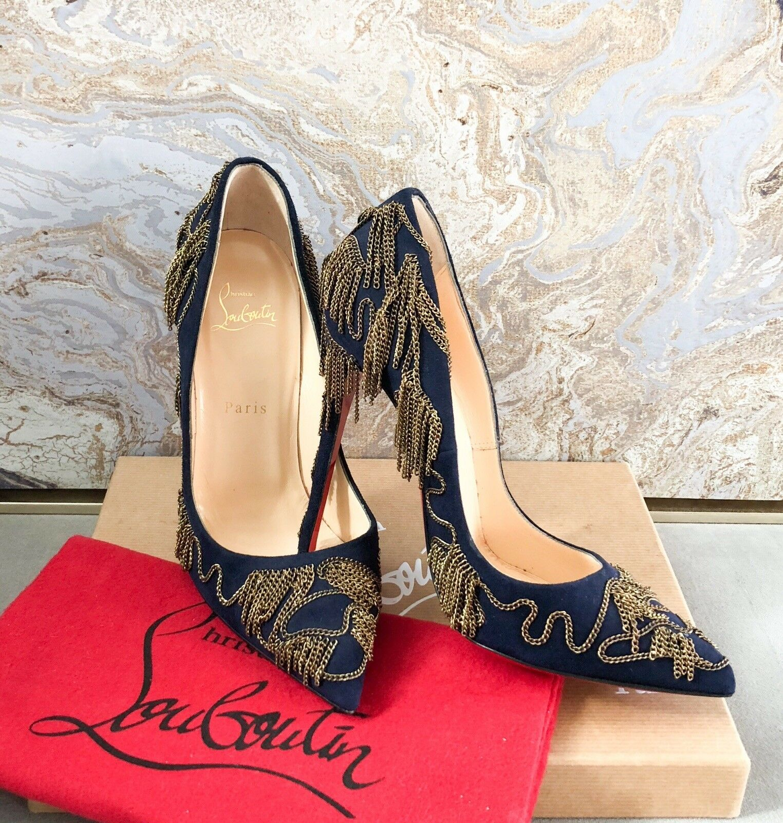 New Christian Louboutin Dolly Party Chain Pump Sz 38.5