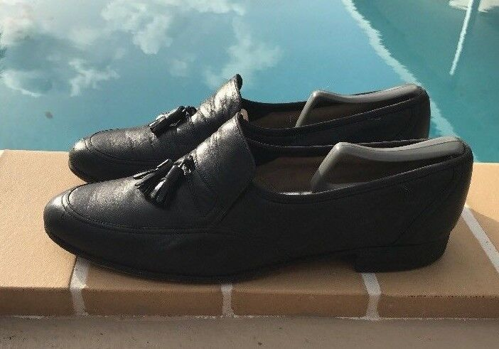 VINTAGE BALLY BLACK LEATHER TASSELS DETAIL LOAFERS Sz 11D MADE IN SWITZERLAND
