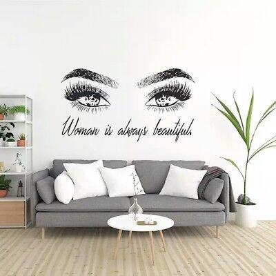 Beauty Salon Quotes Art Vinyl Wall Sticker Mural Decal Girl Eyelashes Make Up