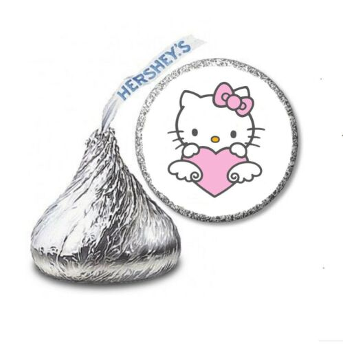 108 HELLO KITTY WITH HEART Birthday Party Favors Stickers Labels Hershey Kiss
