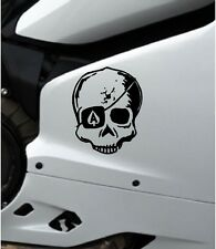 SKULL ACE OF SPADES VINYL DECAL STICKER MOTORBIKE TANK CAR VAN LAPTOP BLACK