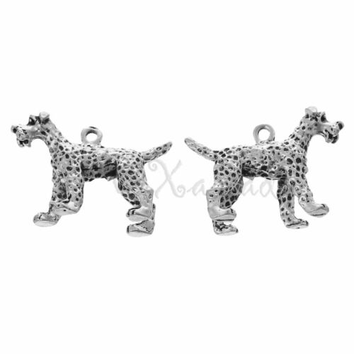 Wholesale Silver Plated 3D Pendants C4304-1 Terrier Dog Charms 2 Or 5PCs