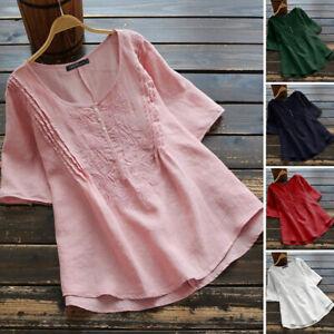 100-coton-Femme-T-shirt-Manche-Courte-Broderie-Col-Rond-Ample-Haut-Tops-Plus
