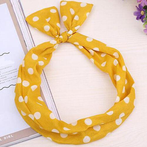 Lovely Girl Polka Dot Bow Ear Rabbit Hair Band Wire Wrap Headband Accessories