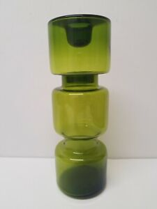 MID-CENTURY-MODERN-GREEN-HOOPED-GLASS-DANISH-SCANDINAVIAN-CANDLE-HOLDER