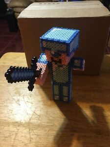 Details About Minecraft Inspired 3d Diamond Steve Handmade Perler Beads Hama Steve Creeper