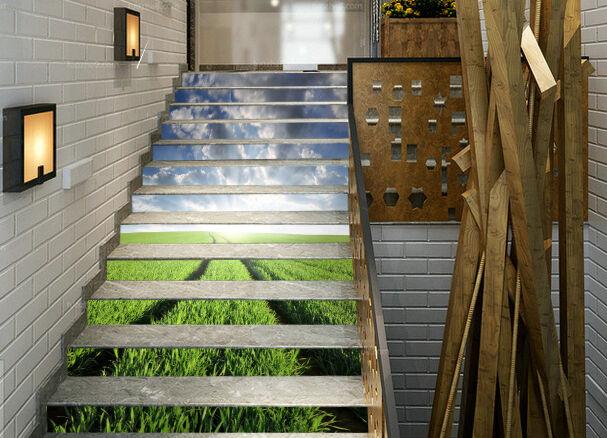 3D Grn Paddy 593 Stair Risers Dekoration Fototapete Vinyl Aufkleber Tapete DE