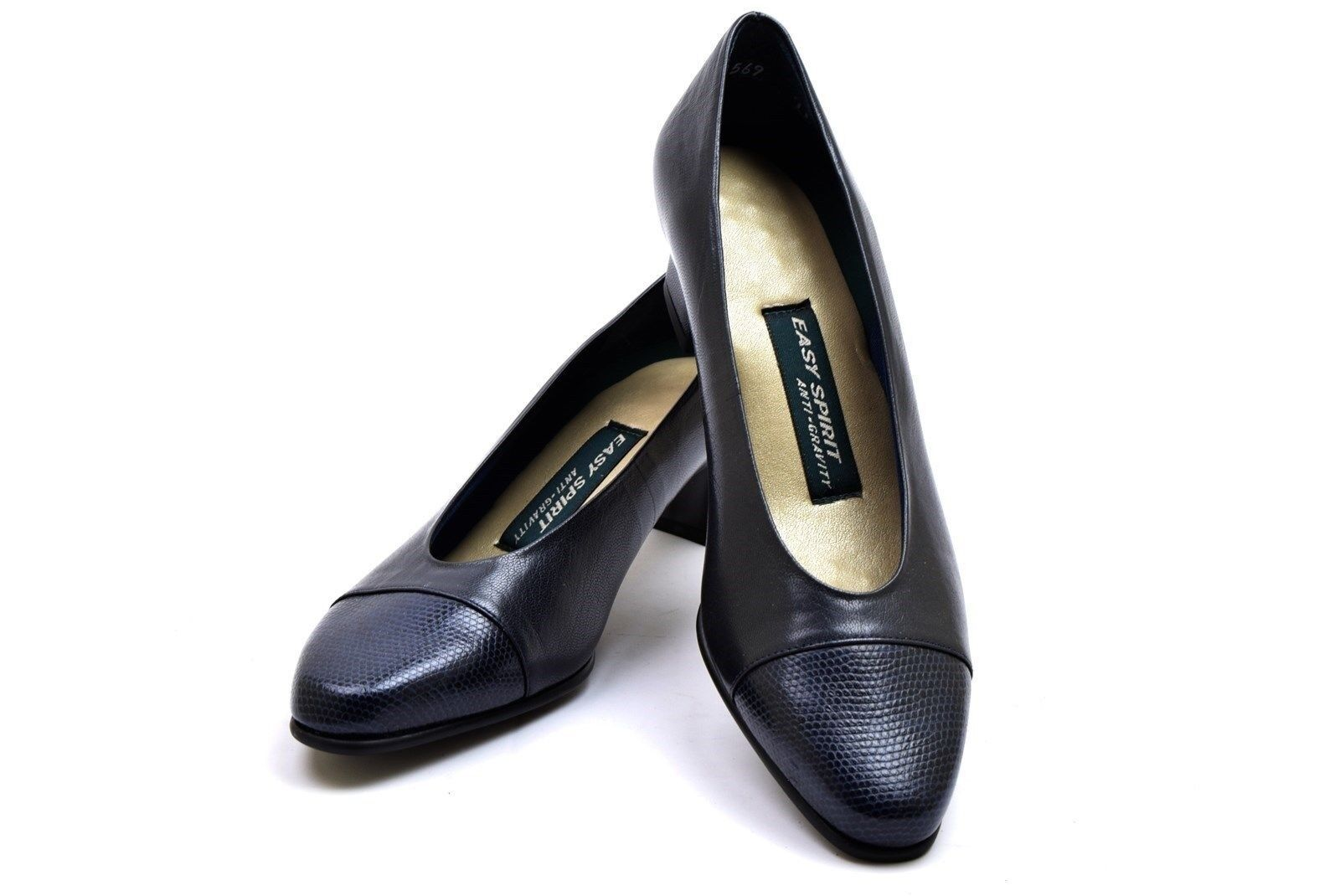 Easy Spirit Classic Pumps Navy Blue Leather Size 6 NEW NWOB