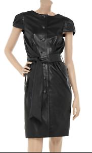 SARA BERMAN schwarz Leather Amy Winehouse Belted Button Front Dress EUC