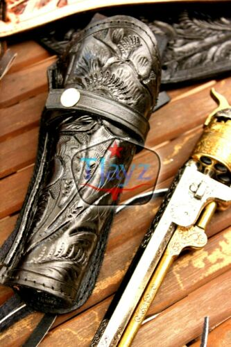 NEW 44//45 Right Hand Tooled Holster LEATHER Western RIG Gun Belt Drop Loop SASS