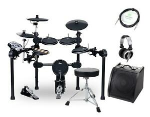 Geniales-E-Drumset-mit-Aktiv-Monitor-Kopfhoerer-Hocker-amp-Kabel-458-Sounds-NEU