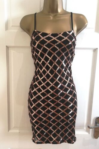 Womens Sparkly Black Rose Gold Sequin Cami Bodycon Party Evening Dress SZ 6-14