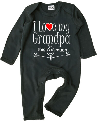 "Grandad Baby Clothes /""I Love My Grandpa This Much/"" Baby Romper Suit Grandfather"